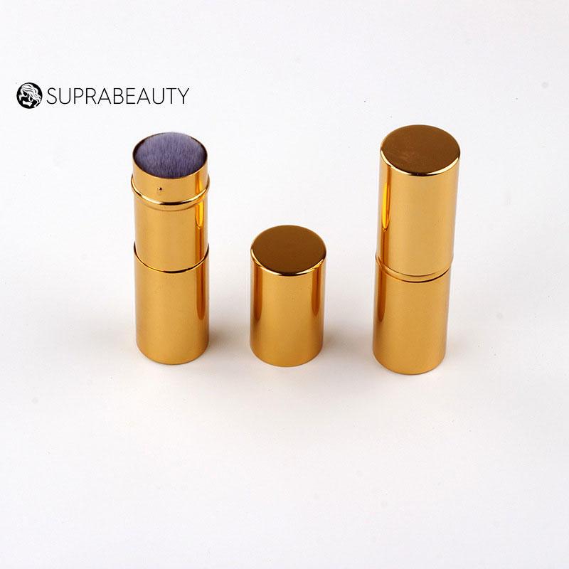 Synthetic hair compact portable kabuki brush