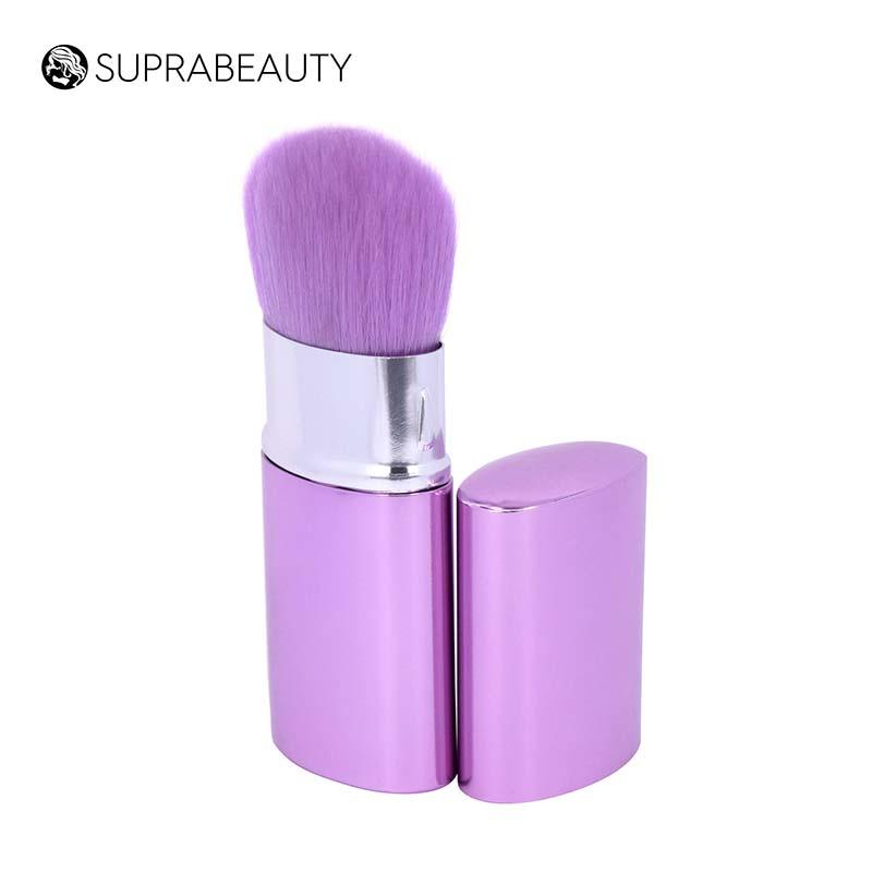 Synthetic hair oval makeup retractable brush