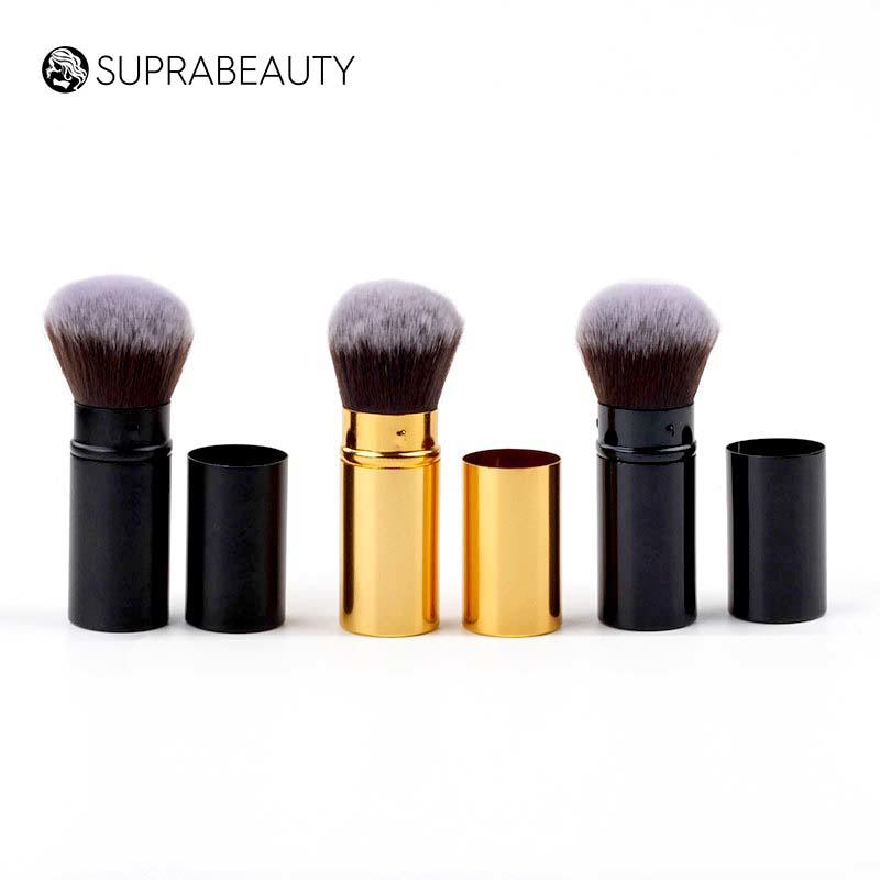 Synthetic hair compact portable kabuki brush