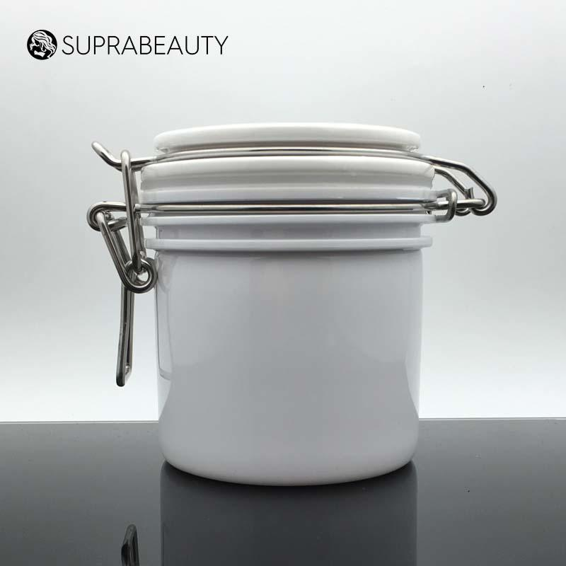 White Round Plastic Airtight Jar 200ml