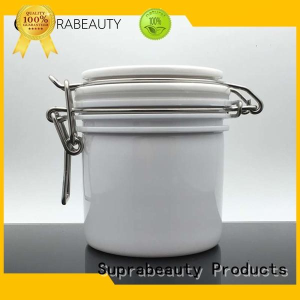 white makeup containers with silicone ring for cosmetic cream
