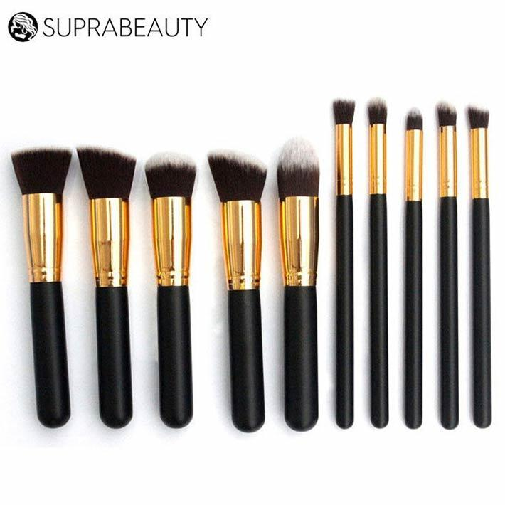 Travel make up brush set Suprabeauty soft synthetic hair wood handle