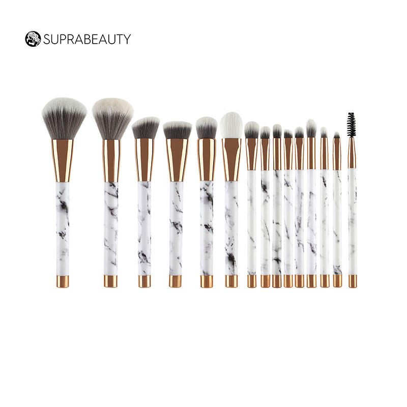Marble makeup brush set synthetic hair 15pcs makeup brush set