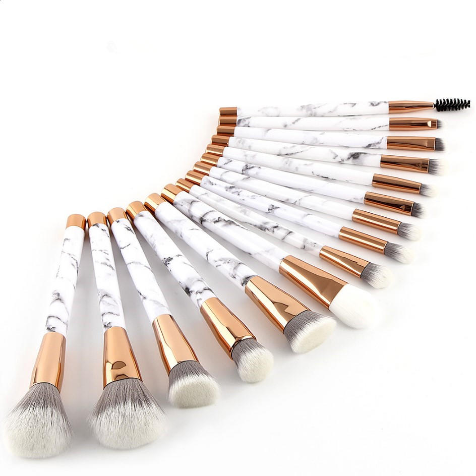 Luxury vegan synthetic hair face marble makeup brush set