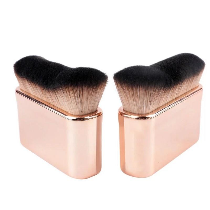 Liquid powder oval makeup brush flat private label kabuki foundation brush
