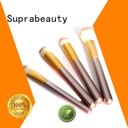 rainbow best rated makeup brush sets with curved synthetic hair for students