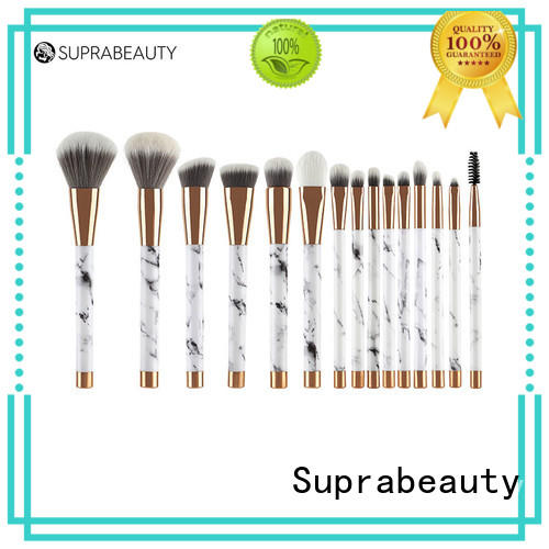 complete makeup brush set with curved synthetic hair for loose powder Suprabeauty