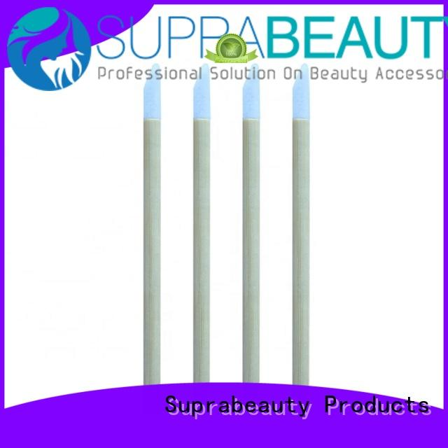 Suprabeauty curved disposable lip brush applicators with bamboo handle for lip gloss cream